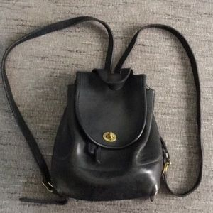 Vintage Coach all leather black backpack